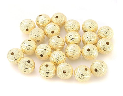 200pcs Top Quality 10mm Ribbon Pattern Loose Round Spacer Metal Beads Gold Plated Brass for Jewelry Craft Making CF233-10