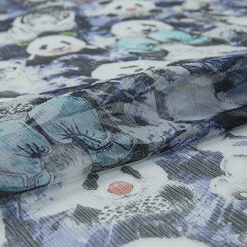 Panda/Animal Print Pleated Pure Silk Georgette Fabric For Dress, Blouse, Blue Hue, 55