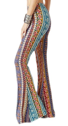 Jaycargogo Women Classic Boho Print Stretch Bell Bottom Flare Palazzo Pants Trousers 1 (Flare Pant)
