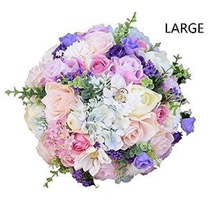Clear Fayer Wedding Bouquet White & Lavender Artificial Rose Flowers Bridal Bridesmaid Bouquets Handmade Posy Pearl Rhinestone Ribbon Decor 108
