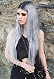 EEWIGS Sliver Wig Lace Front Wigs for Women Synthetic Ombre Gray Long Straight For Sale