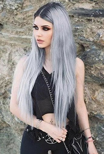 (EEWIGS Sliver Wig Lace Front Wigs for Women Synthetic Ombre Gray Long Straight)