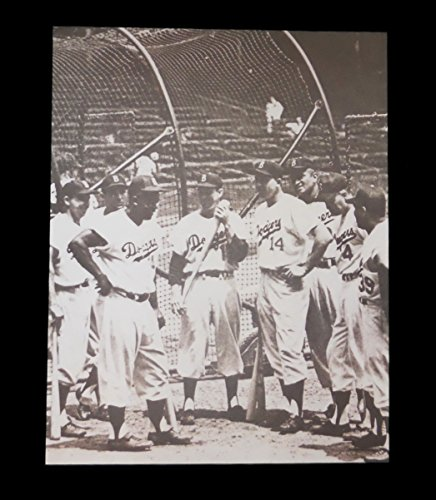 JACKIE ROBINSON & BROOKLYN DODGERS PLAYERS AT BATTING CAGE 11x14 SEPIA PRO PHOTO