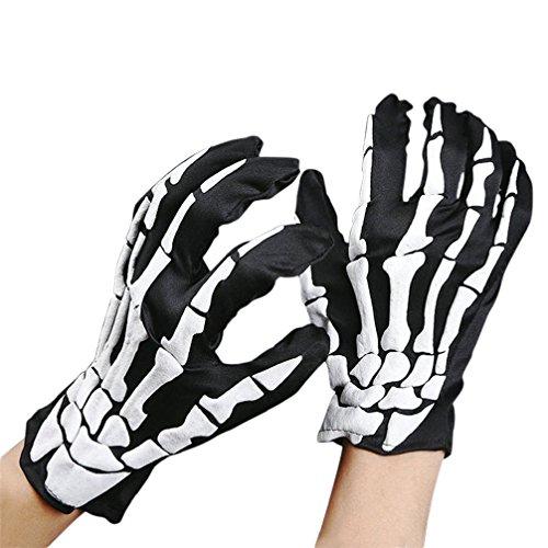 [Binmer(TM) Halloween Skull Bone Skeleton Goth Racing Full Finger Gloves] (Halloween Skeleton Mask)