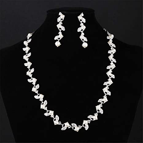 DROHE-Q Collar Aretes Sencillo Conjunto De Joyas Elegante Mujer ...