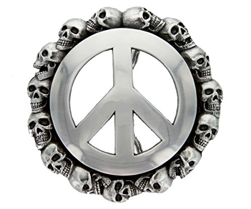 - 100211 Peace Sign Skulls Replacement Belt Buckle