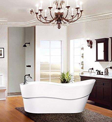 Empava A1527W Luxury Modern Bathroom Freestanding Bathtub, White (Enameled Steel Tub Freestanding compare prices)
