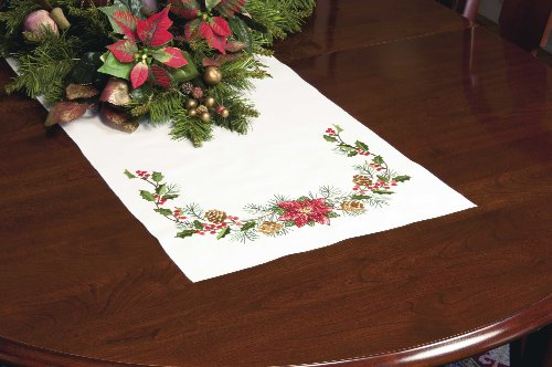 Dimensions Stamped Cross Stitch Kit, Christmas Greens Table Runner, 15'' x - Cross Stamped Dimensions Stitch
