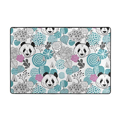 Bear Feet Flower Power - Panda Bear Flower Series Modern Living and Bedroom Soft Fluffy Rug, Super Soft Interior Modern Shag Area Smooth Blanket Restaurant Home Bedroom Rug