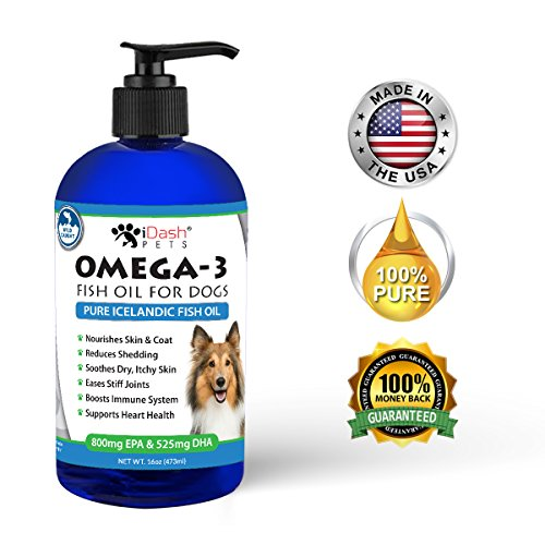 Ultra Pure Omega 3 Fish Oil for Dogs – Reduces Shedding, Soothes Dry Itchy Skin, Eases Stiff Joints, Rich Source of Essential EPA/DHA Fatty Acids, Fresh Wild Caught Dog Fish Oil, Odor Free, 16 oz pump