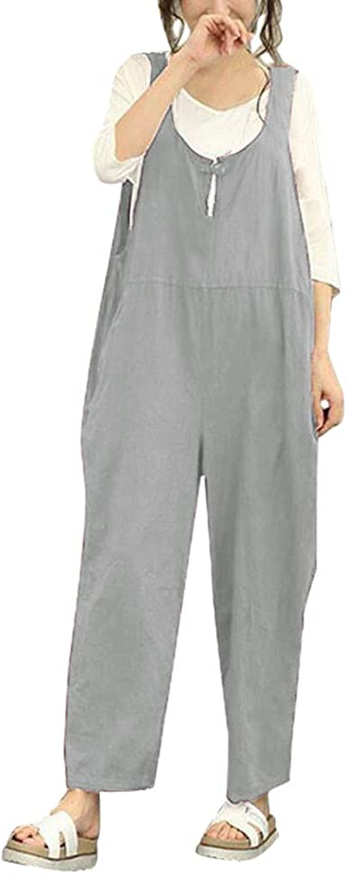 SELX Women Plus Size Solid Sleeveless Baggy Jumpsuit Romper with Pockets