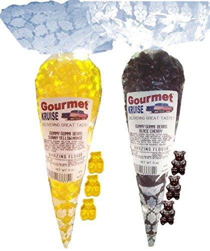 Sunny Yellow Mango And Black Cherry Gummy Gummi Bears (NET WT 22 OZ) Gourmet Kruise Signature Gift Bags -