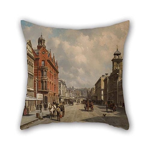 The Oil Painting Jacques Carabain - Queen Street, Auckland Pillow Covers Of 20 X 20 Inches / 50 By 50 Cm Decoration Gift For Sofa Dining Room Gril Friend Bar Kitchen Wife (two Sides)