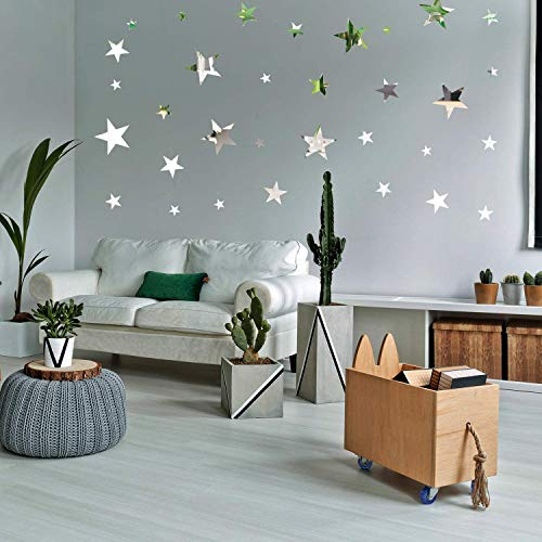 32 Pieces Removable Star Mirror Stickers Acrylic Mirror Setting Wall Sticker Decal for Home Living Room Bedroom Decor… 6