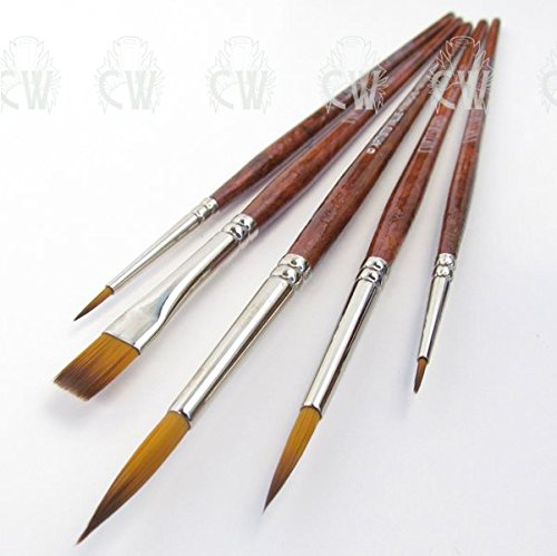 Curtisward Panache Artists 5 Brush Set. Brushes for Watercolour, Gouache, Acrylic, Inks Pro Arte CWAV007-WA