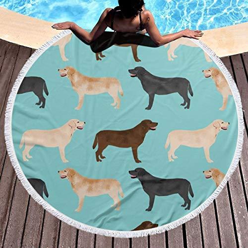 MDFHE Round Beach Towel Indian Mandala Yoga Mat Tapestry- Cute Labradors Yellow Chocolate Black Lab Pet Dogs Beach Towels 59 Inch Diameter