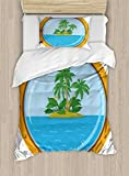 Ambesonne Island Duvet Cover Set Twin Size, Graphic of Tropic Island View from The Bronze Ship Window with Palm Trees, Decorative 2 Piece Bedding Set with 1 Pillow Sham, Blue Green Orange