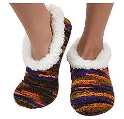Womens Artisan Yarn Sherpa Snoozies Slipper Socks - Purple, Medium