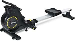 Doufit Rowing Machines for Home Use Foldable, RM-01 Magnetic Row Machine Exercise Equipment with Aluminum Rail, Transport Wheels, LCD Monitor & 8 Resistance Settings