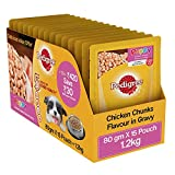 Pedigree Gravy Puppy Dog Food Chicken chunks in gravy, 80 g (Pack of 15)
