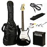 RockJam RJEG02-SK-BK ST Style Electric Guitar Super Pack with Amp, Gig Bag, Strings, Strap, Picks, Black
