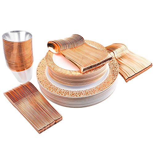 25 Guest Settings (150 Piece) of Rose Gold Lace Plates, Silverware, Glasses, Premium Disposable Plastic Dinnerware: 25 Dinner & 25 Salad Plates, 25 Glasses (9 oz), 25 Forks, 25 Knives, 25 Spoons