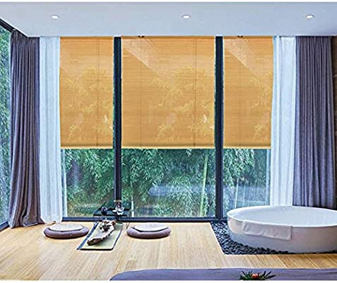LJA Outdoor Rodillo de bambú, Parasol con riel y Accesorios, protección Solar Protección UV Anti-Polilla a Prueba de Humedad Retro Roman Blinds (Size : W 45*H 100cm): Amazon.es: Hogar