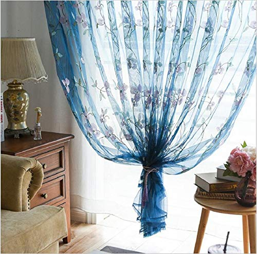 Pastoral Window Sheer Curtain Set Blue Polyester Fabric Tulle Flower Embroidered Voile Curtains Rod Pocket Gauze Organza for Living Room Sliding Glass Door Drape W75 x L63 1 Pair (2 Panels) ZZCZZC from ZZC