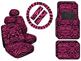 zebra pink car accessories - 11 Piece Safari Animal Print Automotive Interior Gift Set - 4 Universal Fit Carpet Floor Mats, 2 Low Back Bucket Seat Covers with Separate Head Rests, Universal Fit Steering Wheel Cover and 2 Seat Belt Shoulder Pads - Hot Pink Zebra