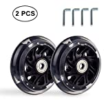 B.LeekS RollerbladeSkate Wheel Replacements, Kick Scooter Replacement Wheels with Bearings, One Set of (2) Wheels, Multiple Sizes & Colors with LED Illuminating Lights (Black, 120mm)