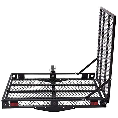 Goplus Wheelchair Carrier Mobility Scooter Loading Ramp Heavy Duty Strong Hitch Cargo, 500 Lbs Capacity (Foldable) -