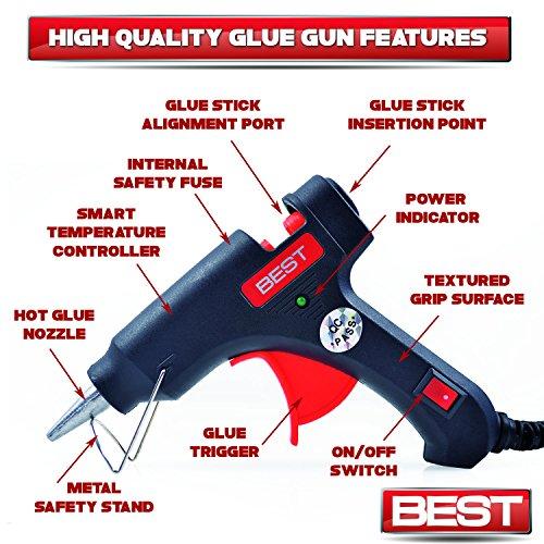 Best Hot Glue Gun (BONUS 25 GLUE STICKS INCLUDED) - Heavy Duty 20 Watt Rapid Heating Technology - 100% Safe - Energy Efficient - Perfect for Fixing Household Items, Arts & Crafts, & More!