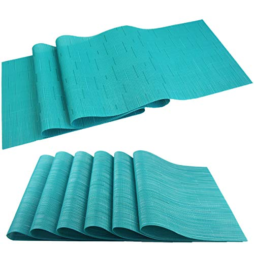 Elegant Placemats with Matching Table Runner,Durable Cleaning Placemats for Dining Table Sets(6pcs Placemats+1pcs Table Runner,Same Style,Dark Turquoise)