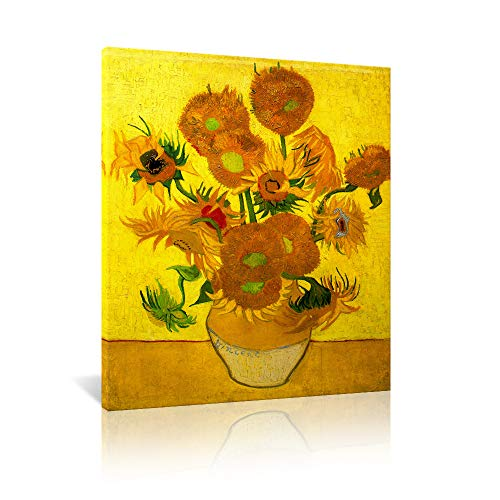 JAPO ART Abstract Flowers Giclee Canvas Prints Wall Art Vase with Fifteen Sunflowers by Van Gogh Classic Artwork Reproduction for Home Decor Modern Stretched and Framed Floral Picture Artwork 16