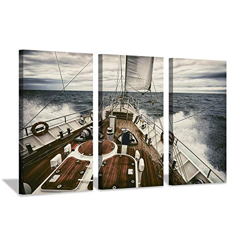 Hardy Gallery Ocean Artwork Nautical Art Picture: Sailboat Sailing Print on Canvas for Office Wall Decor (26''X16''x3pcs) ()
