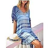 Multitrust Women Chiffon Perspective Stripe Print Tassel Swimsuit Cover Up Dress Kaftan Bikini Swimwear Cover-Ups (Blue-2)
