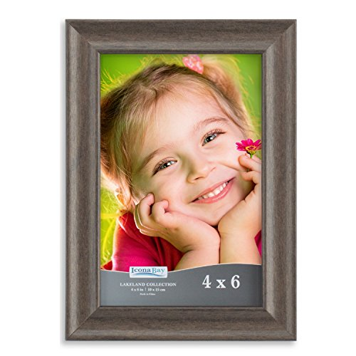 Icona Bay Picture Frame 4x6:  Wood Photo Frame for Walls or