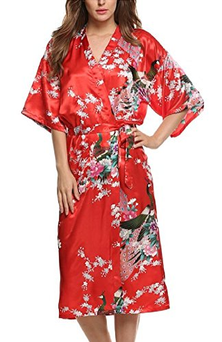(SexyTown Women's Long Floral Peacock Kimono Robe Satin Nightwear with Pockets X-Large Red)