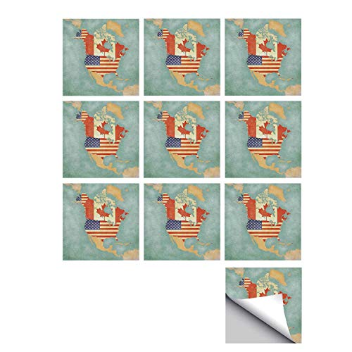 C COABALLA Wanderlust Decor Stylish Ceramic Tile Stickers 10 Pieces,States and Canada Outline Map of The North America in Grunge Stylized Soft Colors for Kitchen Living Room,5