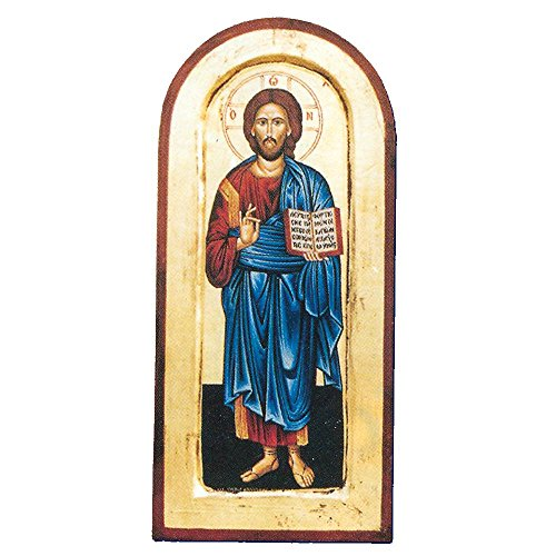 Arched- Christ the Teacher Greek Painted Icon by Catholic Gifts USA