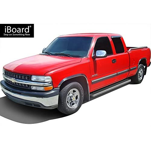 APS 4 Black iBoard Running Boards Fit 99-13 Chevy Silverado//GMC Sierra Double Cab