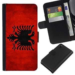 """Be-Star la tarjeta de CršŠdito Slots PU Funda de cuero Monedero caso cubierta de piel Para Sony Xperia Z3 D6603 ( Bandera nacional de la Serie-Albania"""" )"""