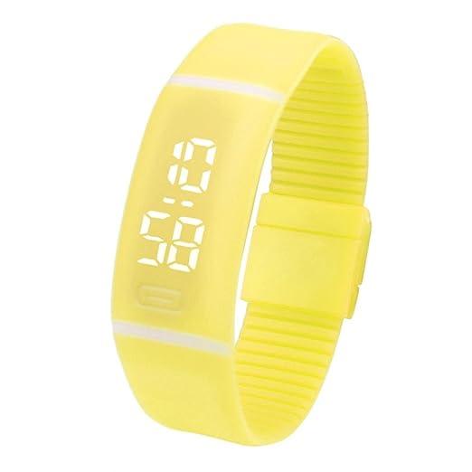 QinMM Reloj digital Pulsera deportiva de silicona, con pantalla LED, para correr running, para mujer y hombre, unisex (Amarillo): Amazon.es: Relojes