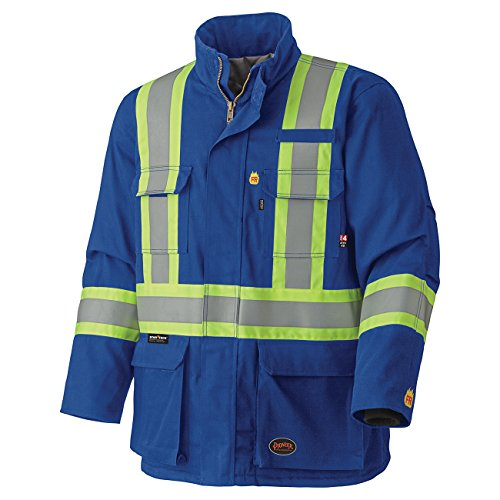 Pioneer V2560210-2XL Flame Resistant Quilted Cotton Safety Parka, Royal-2XL