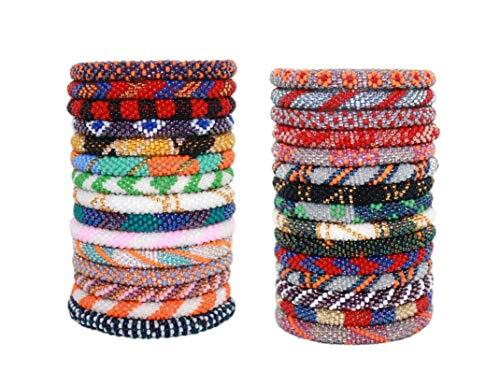 goldenlines 12 Random Mix Handmade Crochet Nepal Seed Bead Bracelets (ONE Dozen)
