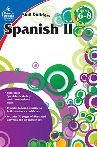 Carson Dellosa - Skill Builders Spanish II Workbook, for Grades 6-8, 80 Pages With Answer Key ()