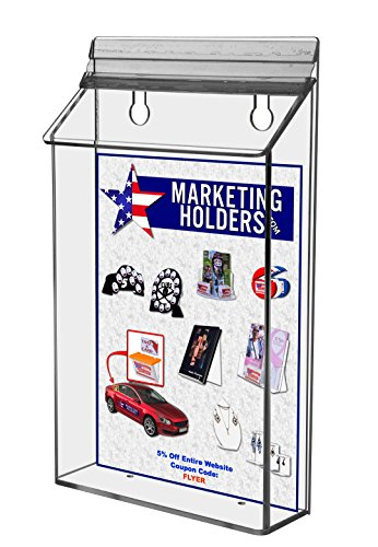 Marketing Holders Lot of 6 Clear Acrylic 6'' x 9'' Outdoor Brochure Holder by Marketing Holders