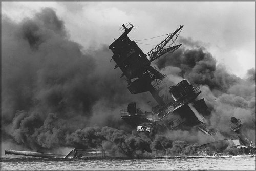 16x24 Poster; Uss Arizona (Bb-39) Burning After The Japanese Attack On Pearl Harbor, 7 December 1941