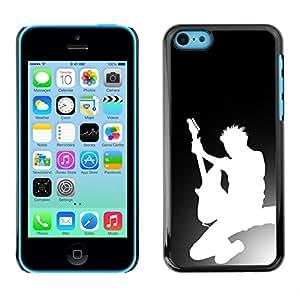 Caucho caso de Shell duro de la cubierta de accesorios de protección BY RAYDREAMMM - iPhone 5C - Silueta de la guitarra