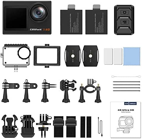 【2021 Newest】 Campark X40 Vlog Camera 4K 20MP Action Camera Dual Screen EIS Touchscreen Remote Control WiFi Waterproof 40M with 2x1350mAh Batteries and Accessories Kit